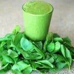 Spinach leaves and juice